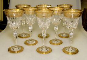 Set of Eight Saint Louis Crystal Wine Glasses