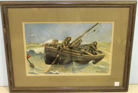 Watercolor of Fishermen