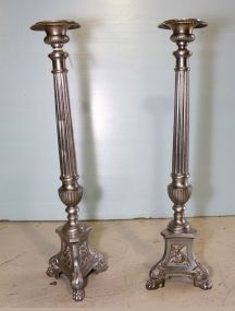 Pair of Tall Metal Candlesticks