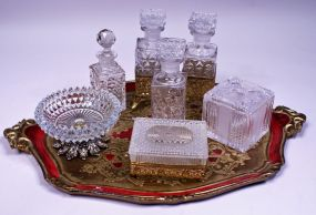 Collection of Crystal Ladies Dresser Items on a Gilt Florentine Tray, 8 items Total