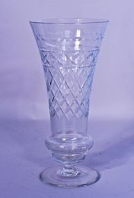 Early Hand Blown Cut Glass Vase
