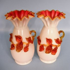 Pair of English Victorian Cased Art Glass Vases