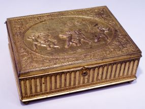 Fine Gilt Bronze Jewelry Box, Children Playing Hide-and-Seek