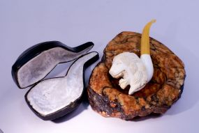 Meerschaum Carved Lion Pipe in Fitted Leather Case & an Italian Alabaster Ashtray