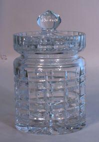 Waterford Style Cut Crystal Biscuit Jar
