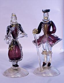 Tall Pair of Murano Art Glass Figures in Period Dress