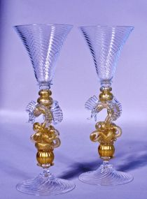 A Matched Pair of William Gudenrath Dragon Stem Goblets