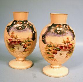 Pair Bristol Glass Hand Painted