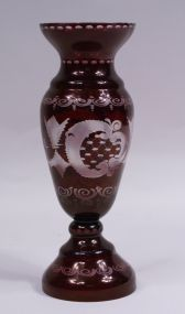 Bohemian Ruby Cut Overlay Vase