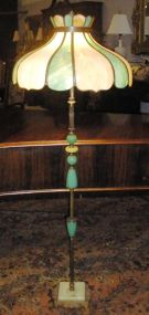 Brass and Onyx Floor Lamp with Stained Glass Shade