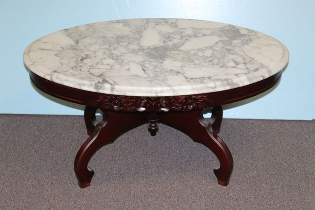 0582 1960 39 S Victorian Style Marble Top Coffee Table June Estate Sale Auction 2016