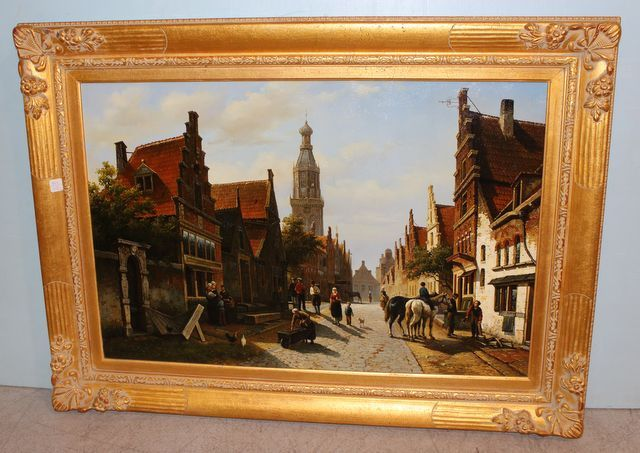 0393 Old World European Village Scene Painting with Ornate ...
