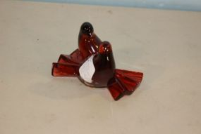 Signed Red Glass Baccarat Love Birds