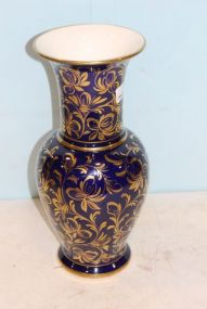 Paul's Italy Cobalt Blue Vase with Gold Accents