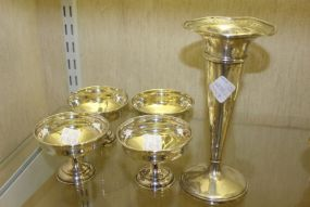 M. Fred Hirsch Sterling Silver Weighted Vase and Four Hamilton Sterling Silver Cocktail Cup Sleeves Weighted