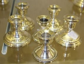 Six Sterling Silver Weighted Candlesticks