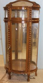 Unusual Oak China Cabinet with Etched Glass On Top Section and Curved Glass Sides