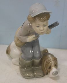 Lladro Figure of Little Boy with Gun and Dog