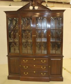 Two Part Ethan Allen Mahogany China Cabinet