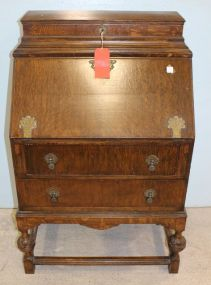 Unusual Jacobean Style Oak Fall Front Desk with Lock Box on Top