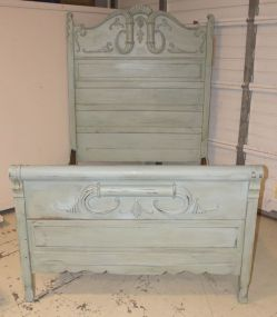 Duck Egg Light Blue Painted High Back Carved Full Size Bed