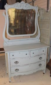 Duck Egg Light Blue Painted Carved Dresser with Beveled Mirror
