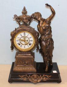 Ansonia Mantel Metal and Slate Clock