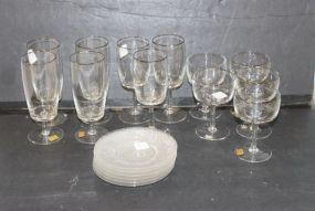Group of Reizart Gorham Crystal Glasses Handblown in Bavaria Plus Glass Plates