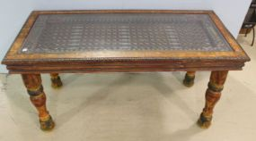 Unusual Multi Colored Glass Top Table with Insert Iron Work