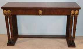 Baker Furniture Console with Paw Feet and Brass Lions Heads Accents