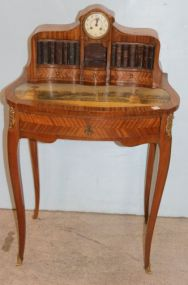Satinwood French Style Desk with Fitted Clock and Hand Painted Scene Writing Surface