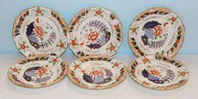Set of Six Eighteenth Century Davenport Imari Style Ironstone Plates by John Davenport