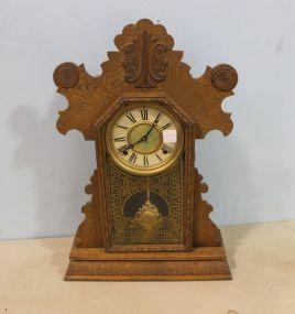 Oak Clock with Pendulum and Key