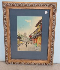 Japanese Woodblock Print Matted and Framed