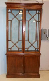 Two Section Bookcase / China Cabinet with Painted Blue Back