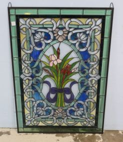 Multi Colored Flowered Stained Glass Window