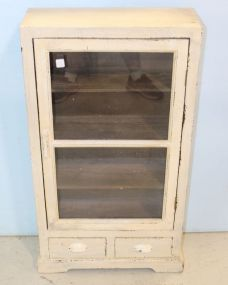 Small White Single Door Cabinet with Two Drawers