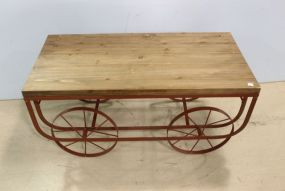 Red Metal Rolling Coffee Table with Wood Top