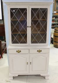 White Two Piece Bracket Foot China Cabinet