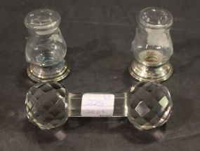 Pair of Alvin Sterling Weighted Base  Etched Glass Salt and Pepper Shakers with a Crystal Knife Rest
