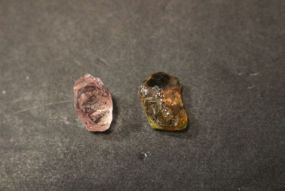 Tourmaline Rough Stones One is a 6 ct Rainbow's End and the Other is 4.75 ct Tourmaline
