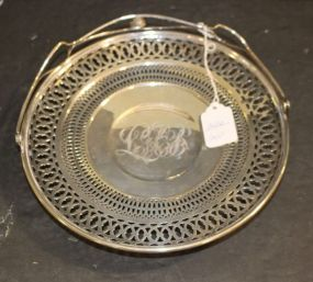 International Sterling Silver Tidbit Tray with Handle, Monogrammed