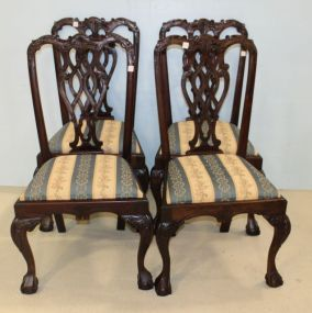 Set of Four Chippendale Ball and Claw Side Chairs in Matching Upholstery