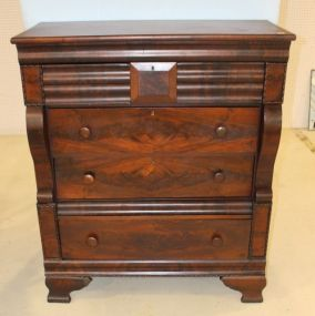 Flame Mahogany Empire Chest with Six Drawers