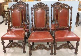 Set of Six Ornate Walnut Chairs with One Captain and Five Sides with Leather Seats and Backs