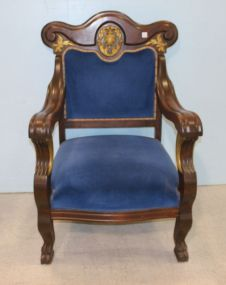 Mahogany Empire Chair with Blue Velvet Upholstered Seat and Back with Gilt Accents