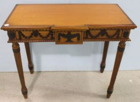 Mahogany Console with Swag and Urn Design and Greek Key Design Leg Tops