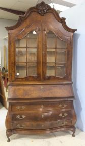 Oyster Burled Walnut Secretary Made In Italy