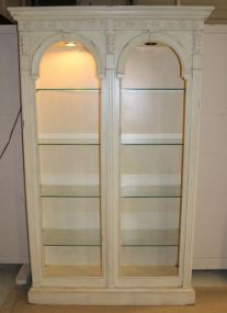 Distressed Open Front Lighted Display Cabinet