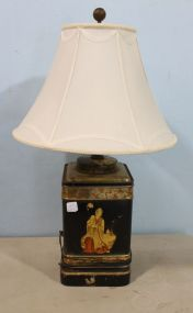 Oriental Style Tea Tin Lamp with Shade and a Wooden Base